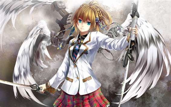 Wallpaper Anime angel girl with a sword as a weapon