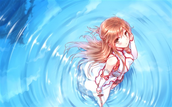 Wallpaper Anime girl standing in water