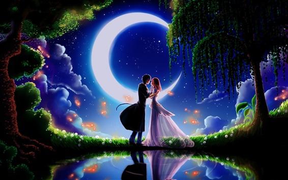 壁紙 美術絵画、月光デートボーイフレンドとガールフレンド