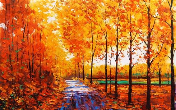 Обои Искусство акварели, осенью красные кленовые леса с лесной тропинке