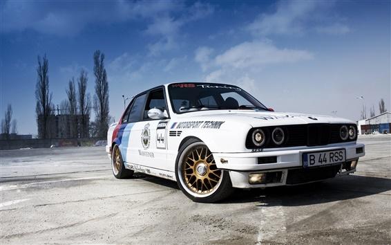 Wallpaper BMW 3 Series Sedan E30 white car