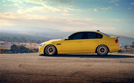 Wallpaper BMW M3 sedan yellow