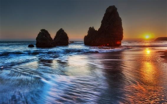 Wallpaper Beautiful sea sunset evening