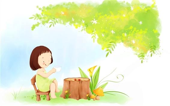 Fondos de pantalla Tema Niño pintura, té niña bajo un árbol