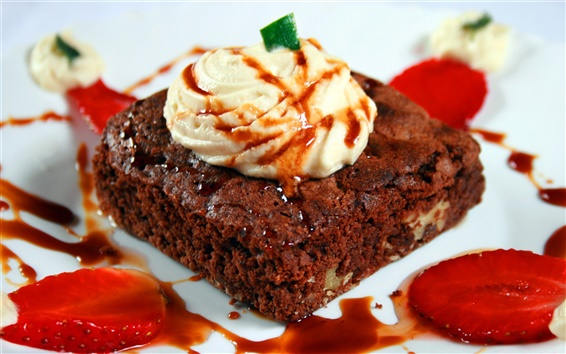 Wallpaper Chocolate cream strawberry dessert cake