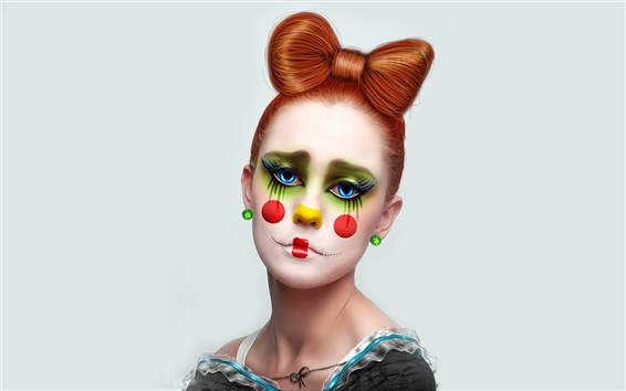 Wallpaper Clown girl, brown hair