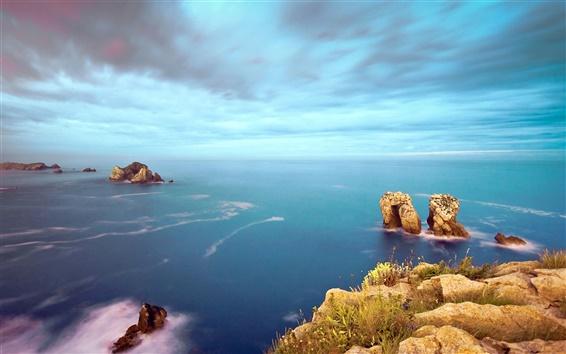 Wallpaper Costa Quebrada sea rocks sky