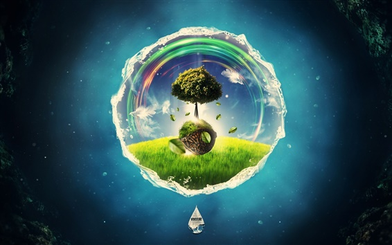 Wallpaper Creative picture, tree in the circle