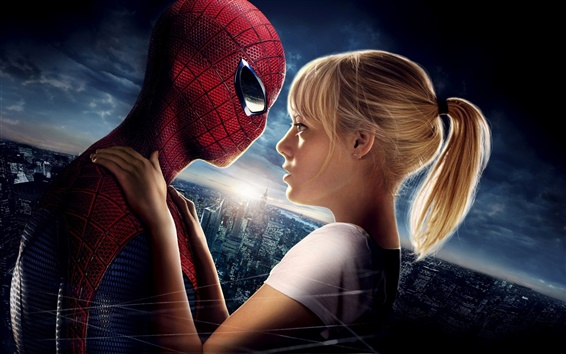 Fondos de pantalla Emma Stone y Spider-Man en The Amazing Spider-Man