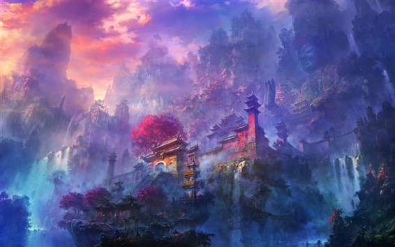Wallpaper Exquisite watercolors, morning mist mountain temple and waterfalls