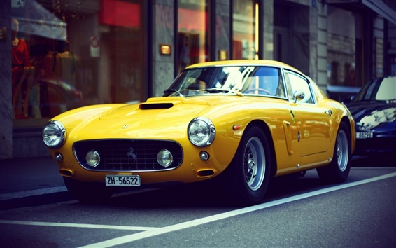Wallpaper Ferrari yellow retro car