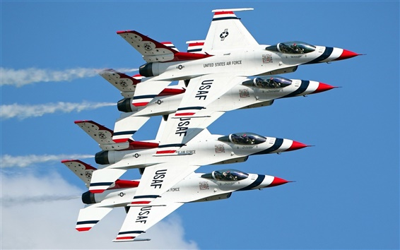 Wallpaper Four fighters lined flight
