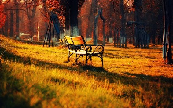 Wallpaper Golden autumn park nature landscape, lawn bench sun