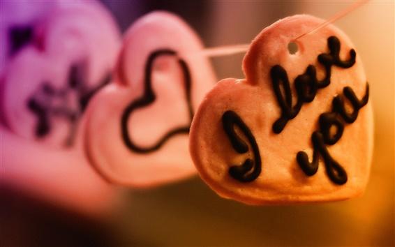 Papéis de Parede Eu amo você, em forma de coração biscoitos