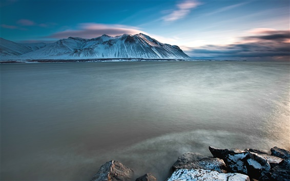 Wallpaper Iceland charming scenery, sea, snow-capped mountains sunset