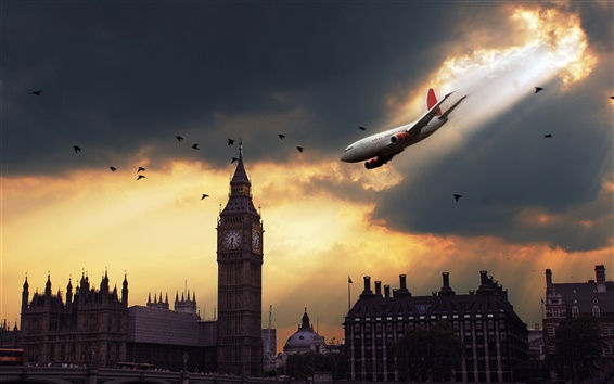 Wallpaper London sky plane at sunset