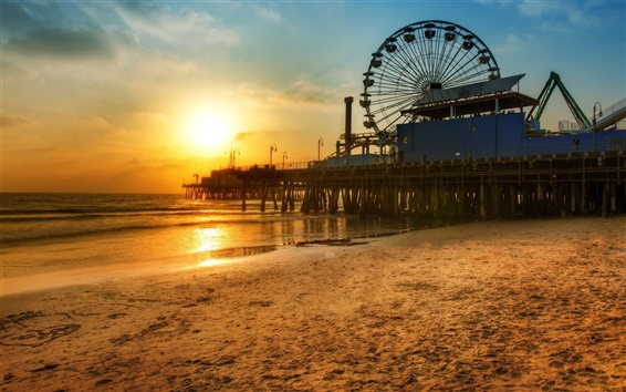 Wallpaper Los Angeles dock Ferris wheel, Beach sunset