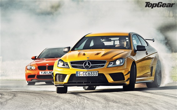 Wallpaper Mercedes-Benz C63 AMG yellow and BMW M3 GTS red supercar