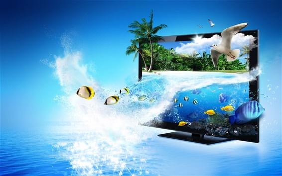 Papéis de Parede Monitor de Publicidade 3D Creative, mar, peixes tropicais, palmeiras