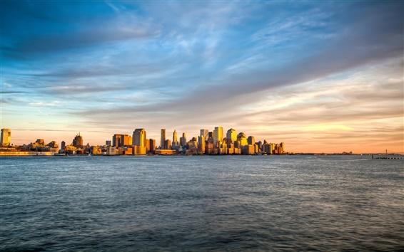 Papéis de Parede New York, Manhattan ilha do sol paisagem, céu mar
