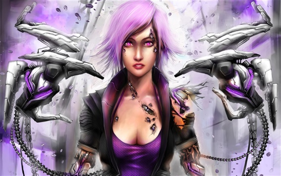 Wallpaper Purple hair robot girl
