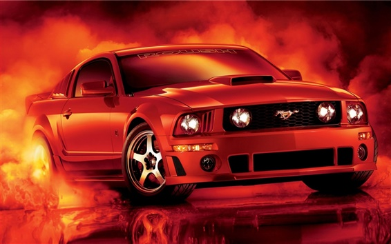 Wallpaper Red Ford mustang car