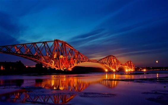 Wallpaper Scotland bridge night lights