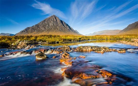 Papéis de Parede Escócia cenário natural, montanhas rochas rio