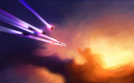 Fond d'écran Vaisseau spatial volant lueur