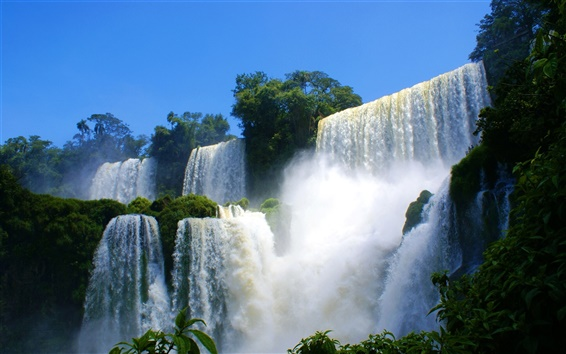 Wallpaper Spectacular scenery of waterfalls and rapids water