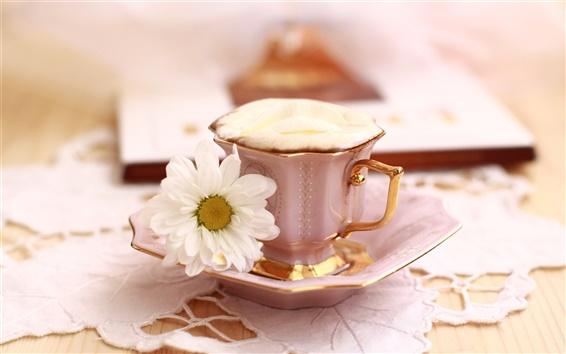 Fond d'écran Thème Nature morte, une tasse de café avec des fleurs