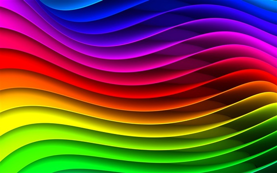 Wallpaper The abstract striped waveform, the colors of the rainbow