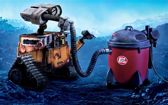 Wallpaper WALL-E robot and vacuum cleaner