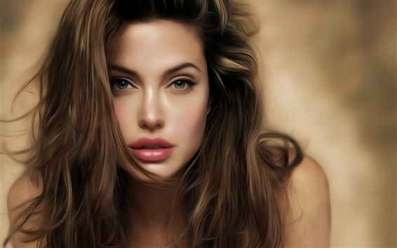 Papéis de Parede Angelina Jolie pintura bonita da arte