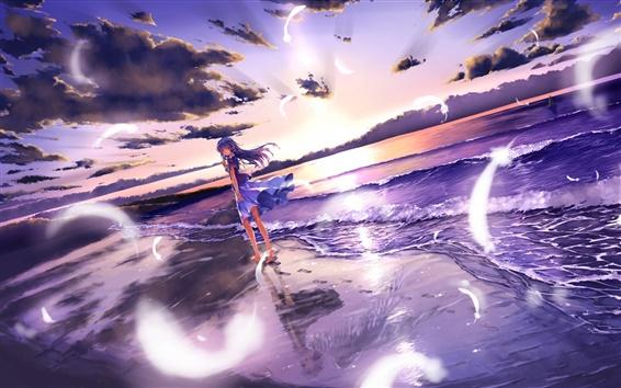 Обои Аниме девушка босиком прогуляться на пляж