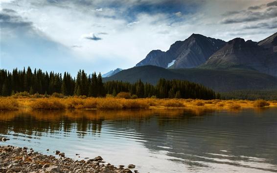 Papéis de Parede Canadá Alberta, outono montanhas de Lake Forest, azul céu nuvens