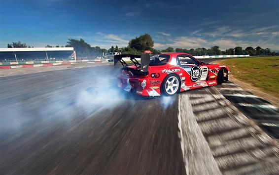 Wallpaper Mazda RX-7 racing drift smoke