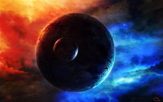Wallpaper Space Earth moon, stars and nebula glow