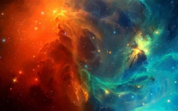Обои Космическая туманность, синие и красные галактики