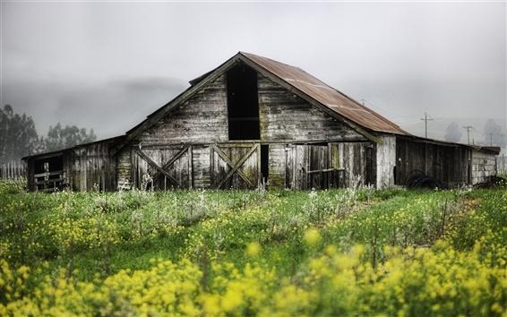 Fond d'écran Paysage de printemps des fermes, maison en bois abandonnée