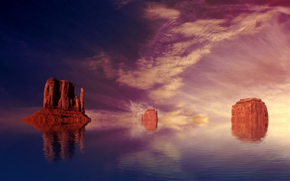 Wallpaper Unusual scenery, red rock mountains in the water