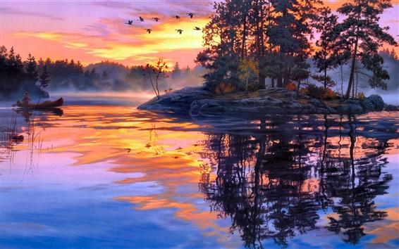 壁紙 芸術の絵画、夕暮れ風景、湖、森林、鳥、夕焼け