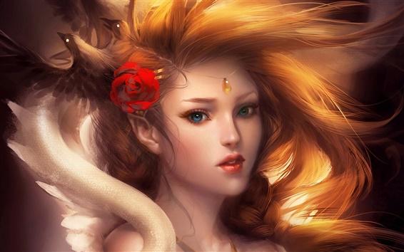 Fond d'écran Peintures d'art, belle jeune fille blonde, accessoires cheveux roses