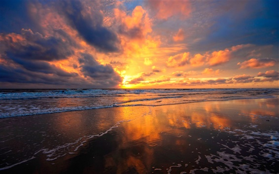 Wallpaper Beach, sea water, fire red clouds sky, beautiful sunset views