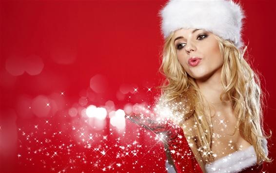 Обои Красивая девушка Рождества, блондинка Снегурочка, снежинки, красный фон