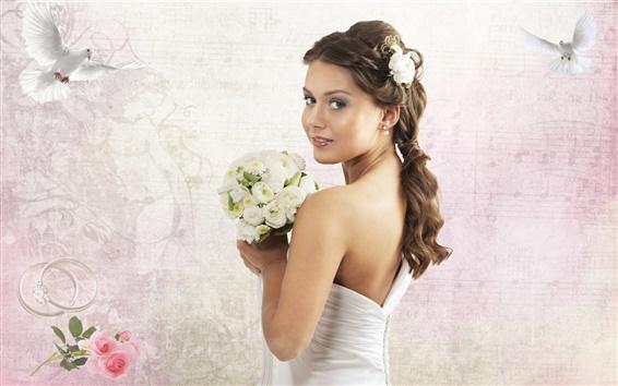 Fond d'écran Belle mariée tenant un bouquet de roses blanches