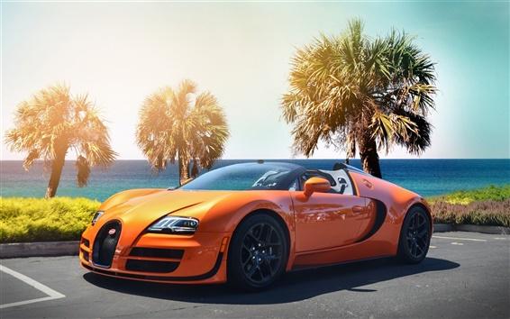 壁紙 ブガッティヴェイロンハイパーカー、オレンジ色