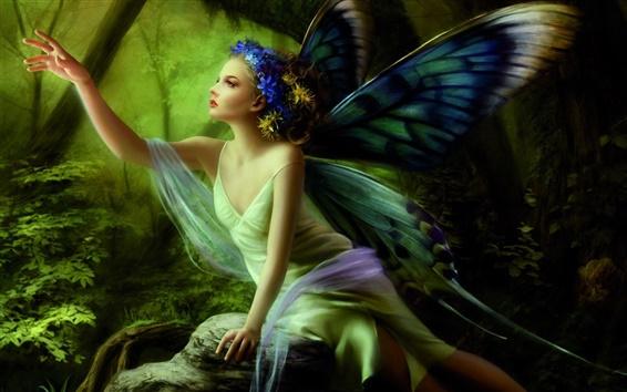 Обои Бабочка Эльф девушка в лесу