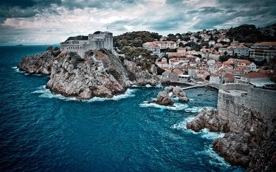 Fond d'écran Nuageux, le port, la mer, les maisons, les villages, la colline rocheuse