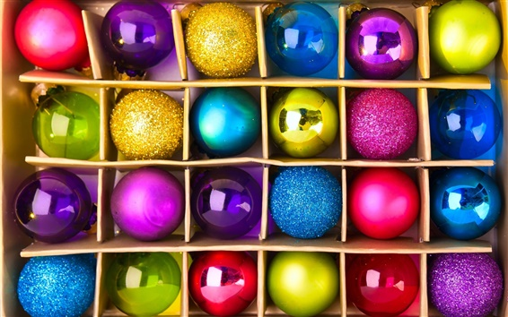 Wallpaper Colorful festive balls, New Year Christmas